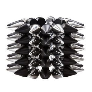 5-Row Black Silver Spike Stud Wide Cuff Btacelet